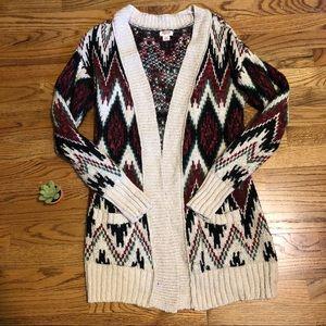 Mossimo Chevron Cardigan Sweater Cream
